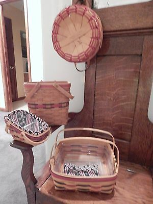 Longaberger lot of baskets All American and red accents 9 pieces total