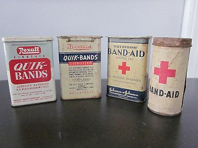 VINTAGE LOT of 4 different 1930/40'S BAND AID TINS