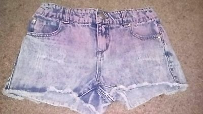 Girls Denim faded shorts with pink age 11yrs