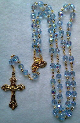 Light Sapphire Blue AB Crystal Rosary - 18K Gold Plated