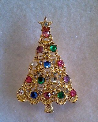 Chantilly Lace Crystal Christmas Tree Brooch Made In Czech Bohemian