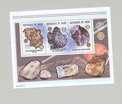Niger #1086 Meteorites, Minerals, Space, Rotary, Lions Club 1v M/S of 3v