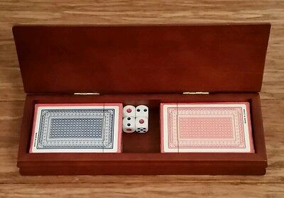 Polished Wooden Playing Cards in Box and Set of Dice
