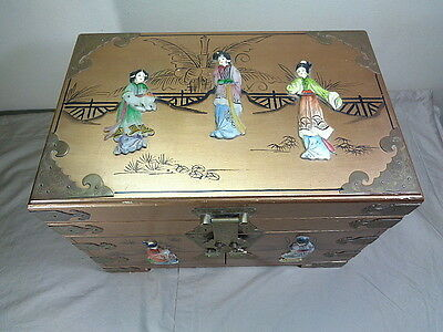 Large Japanese Jewelry Chest Box w Carved Geisha