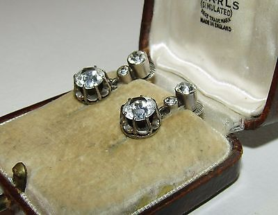 Brilliant, Antique, French 800/1000 Silver Earrings With Old Cut Paste
