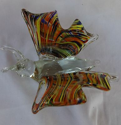 Blown Glass Striped Orange Yellow Blue White Butterfly Figurine Vintage