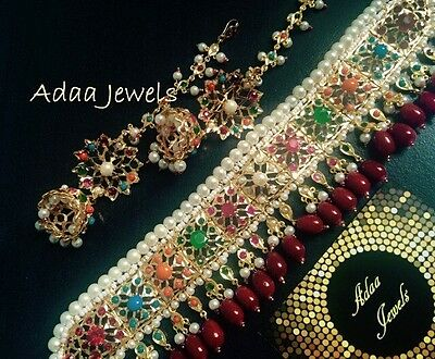 Indian  wedding jewellery set, pearls earrings necklace Multi Colour Beads