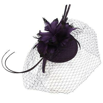 Fancy Quill Swirl Wool Veil Feathers Headband Fascinator Cocktail Hat Cap Purple