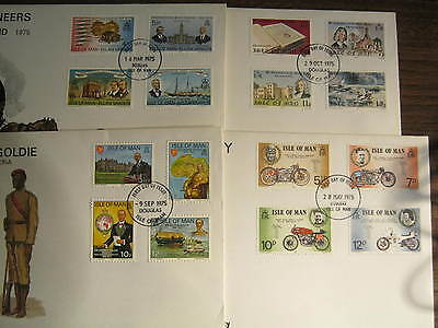 1975 Isle of Man First Day Covers x 4 (Goldie,TT,Pioneers & Bible)
