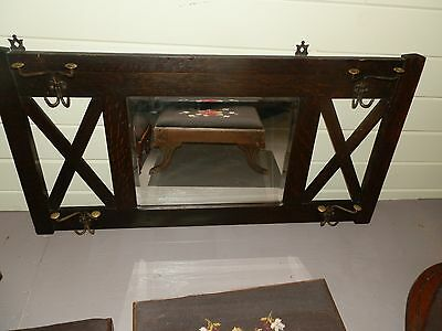Large Antique Arts & Crafts Mission Style Wall Mount Coat Rack w/Beveled Mirror