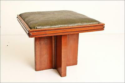 ART DECO WOOD STOOL vintage ottoman wooden chair waterfall foot rest seat 40s