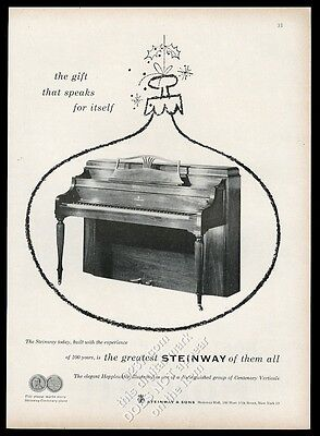 1953 Steinway piano photo in Christmas ornament outline vintage print ad