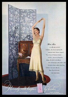 1949 Fischer silk lingerie woman in yellow photo vintage print ad