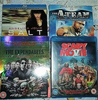 4 blu ray films 2 new and sealed, 2 watched