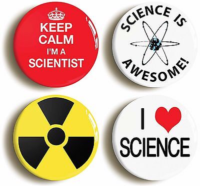 SCIENTIST SCIENCE BADGE BUTTON PIN SET (Size is 1inch/25mm Diameter) FANCY DRESS