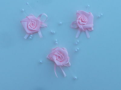 10 BEAUTIFUL PALE PINK 2.5CM SATIN ROSEBUDS ON SATIN BOW WITH BEADS red B56