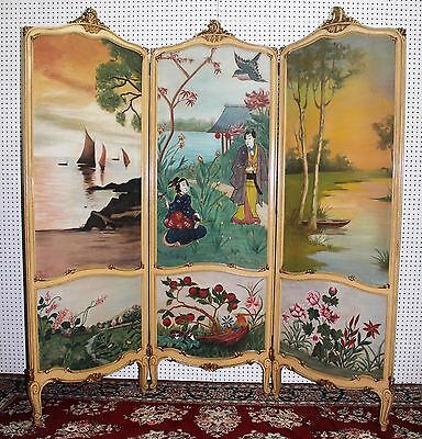 Antique French Louis XV Carved Three Panel Japanese Paintings  Screen