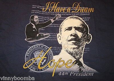 Vintage President Obama & Martin Luther King Tee Shirt I Have A Dream Hope Seal
