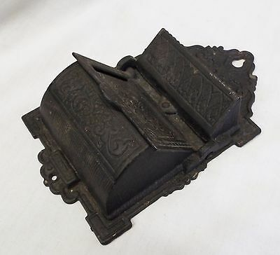 Old EARLY Antique Cast Iron Two Tier WALL MOUNTED Ornate Design MATCH HOLDER