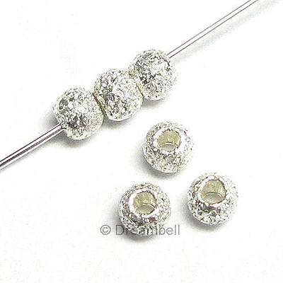20 STERLING SILVER STARDUST ROUND BEADS 2.5mm