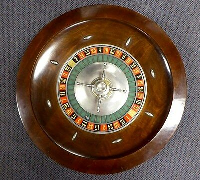 """Antique Classic Wood Table Top Roulette Gambling Wheel. 24"""" D. 25 lbs. 1930."""