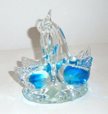 Hand Crafted Art Glass Pair of Birds Figurine