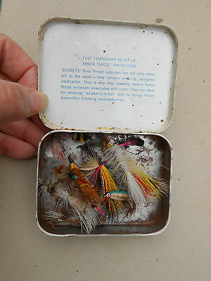 Lot of 24 Old Vintage Colorful Hand-Tied Salmon or Trout Flies in Sucrets Box