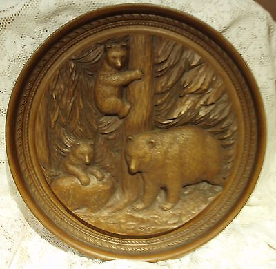 "A ""karl Rothammer"" 1971 Signed Carved Wooden Plaque Depicting Bears - Stunning."