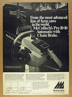 1975 McCulloch Pro 10-10 Chain Saw chainsaw photo vintage print Ad