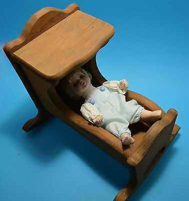 CREEPY DOLL  Make your own  includes porcelain boy doll & old wood cradle