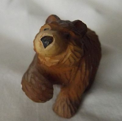 "Hand Carved Wood Wooden Brown Bear Figurine Wild Animal 1 1/2"" Tall"