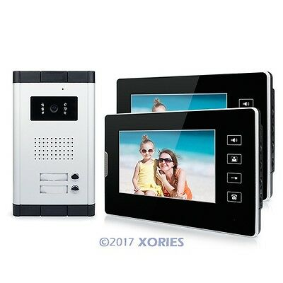 """Wired Video Door Phone Intercom Entry System 7"""" Monitor For 2 Units Apartment"""
