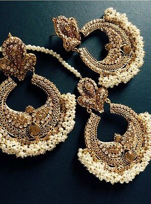 Indian jewelry earrings tika,matha patti Copper,diamonte and pearl gold