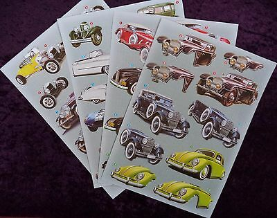 4 x MENS CARS  Paper tole  DIE CUT sheet  great for card making *new* #A - D