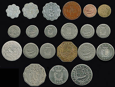 MALTA:-21 different Post independence - pre Eurozone circulation coins ADP5624