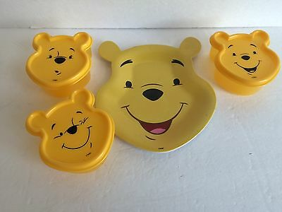 Winnie the Pooh plastic snack plate and 3 containers with lids Disney Store