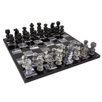 Marble Art Chess Set Artisan Carved 'Check in Gray' NOVICA Mexico