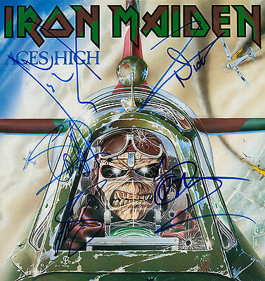IRON MAIDEN Signed 'Aces High' Photograph - Rock Band / Group - preprint