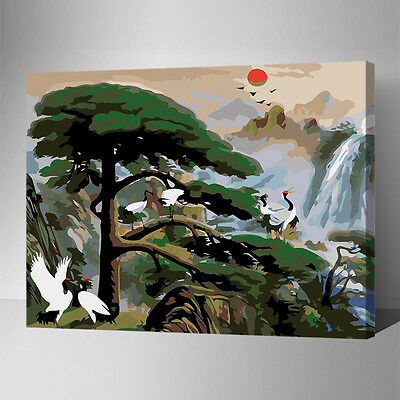 Painting by Number kit Mountain Stream Pine and Cypress Owned Crane DIY YZ7612