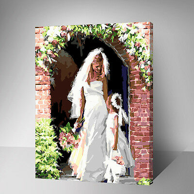Framed Painting by Number kit Bride and Flower Girl The Door of Happness YZ7457