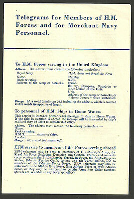 Telegrams For Members Of Hm Forces And For Merchant Navy Personnel Gpo Leaflet