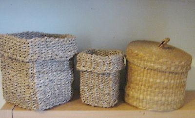 THREE  HAND CRAFTED WOVEN BASKETs ,EXCOND,  KITCHEN , BEDROOM from IKEA