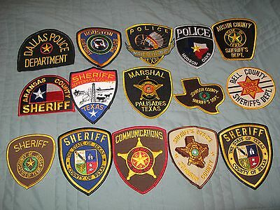 Lot Of 15 Old New Sheriff Police Marshal County Colorful Great State Texas Patch
