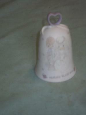 Older Precious Moments 1988 Bride & Groom Wedding Bell Heaven Bless You Nice