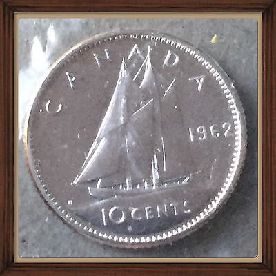 1962 CANADA Elizabeth II Silver Coin - 10 Cents - Proof Like Sealed Unc.