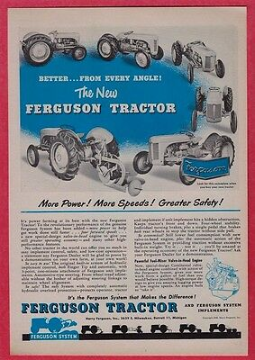 "1948 Ferguson Tractor Orig Ad Print 6 Views - 8 x 11"" Easy Size For Framing"