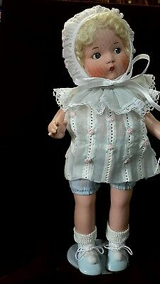 Just me The Vogue Doll company.  2002 all porcelain. 14 inch in blue. last one