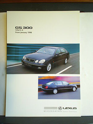 Lexus Gs300 Mark 2 From January 1998 - Sales Brochure / Information Sheet