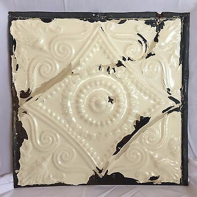 """1890's 12"""" x 12"""" Antique Tin Ceiling Tile Ivory Anniversary Reclaimed 01-17"""