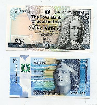 Pair of  Bank of Scotland Uncirculated £5 Banknotes. Last Paper & First Polymer